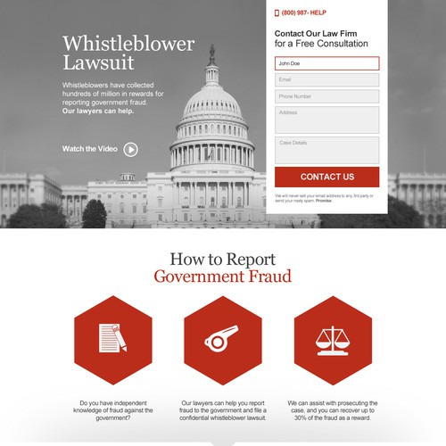Landing page for GovernmentFraudReward