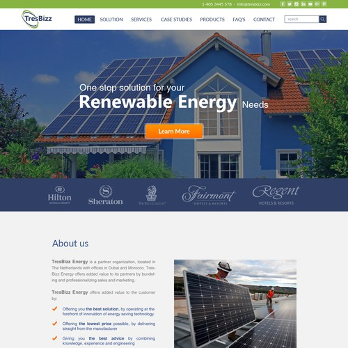 Responsive Website for Renewable Energy Solutions and Products