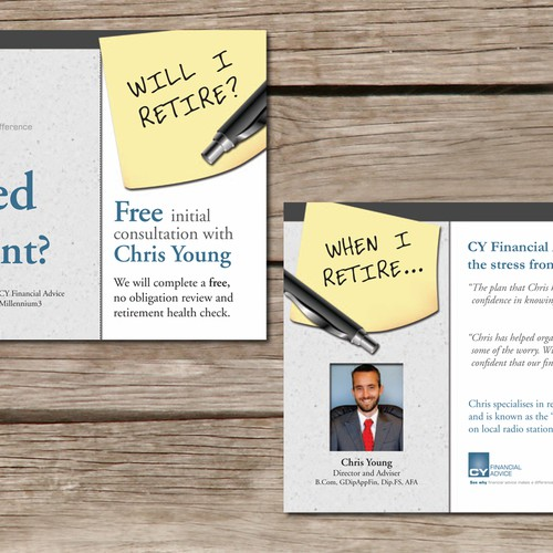 postcard or flyer for CY Financial Advice