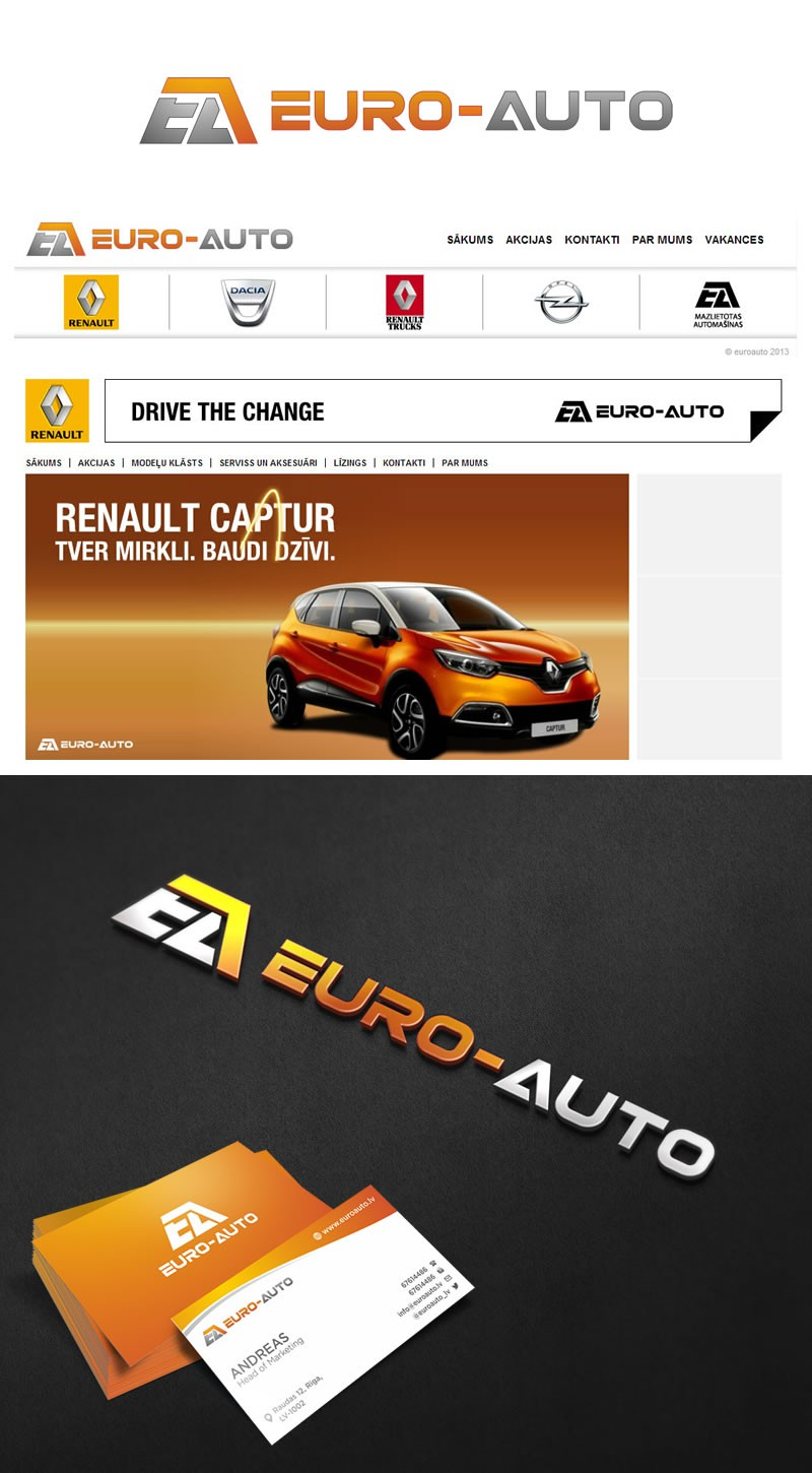 Create a logo for EURO-AUTO - one of the oldest car dealers in Latvia
