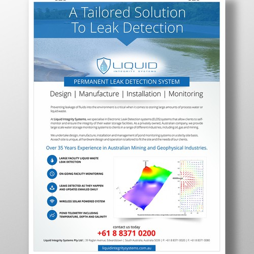design a poster for liquid integrity systems a unique large facitiy liquid waste detection system