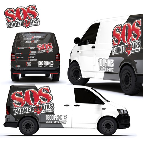 Partial Wrap For SOS Phone Repairs Company