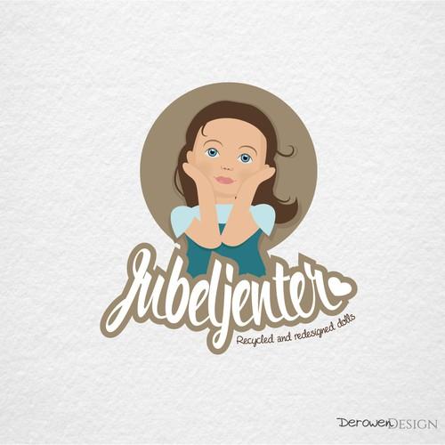 Cute girl child illustration logo.