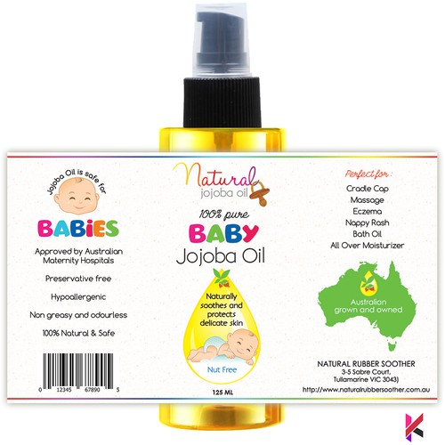 Packaging Label for Natural Baby Jojoba Oil