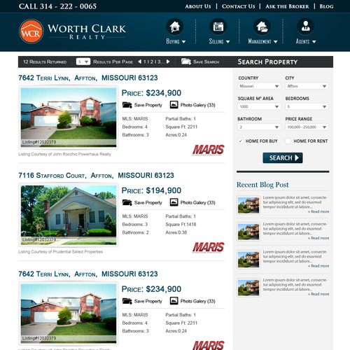 Website design for Worth Clark Realty