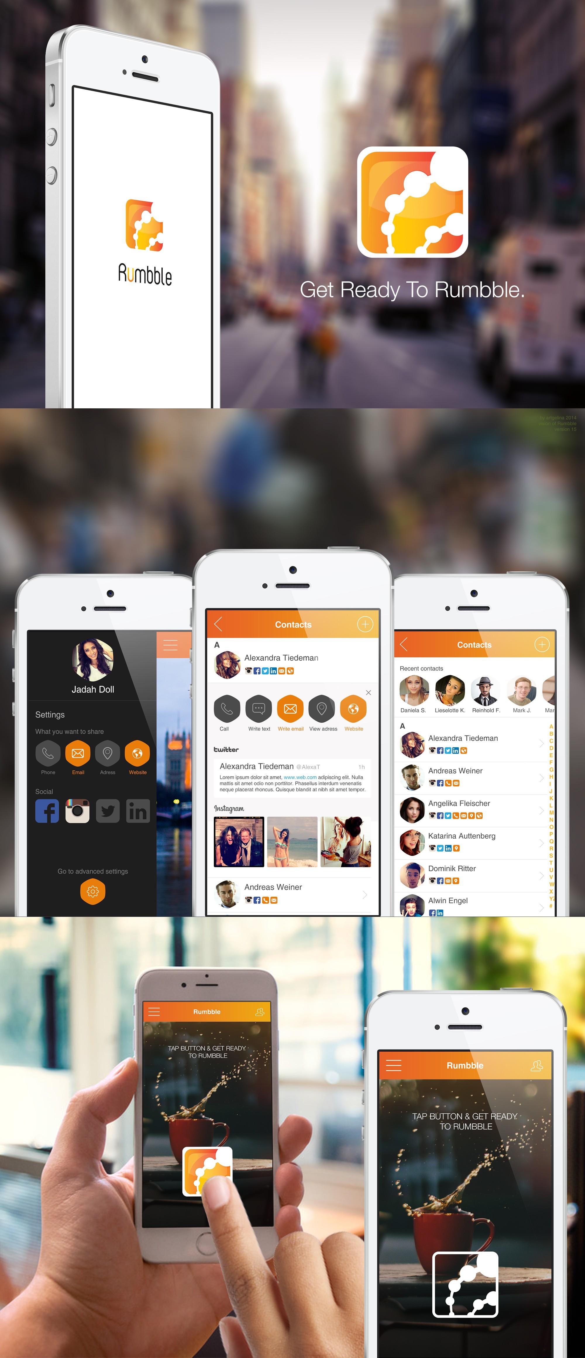 Erstellt ein modernes App-Design für Rumbble