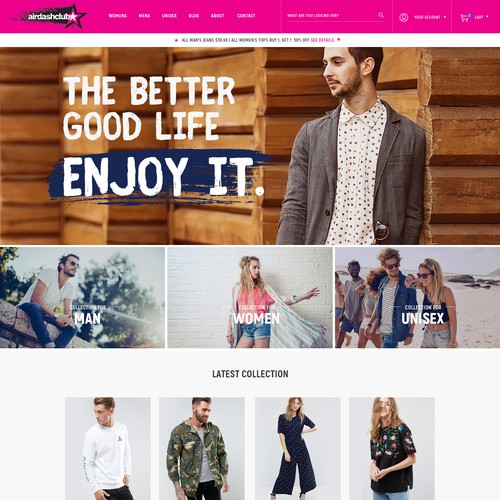 Clothing store -- home page
