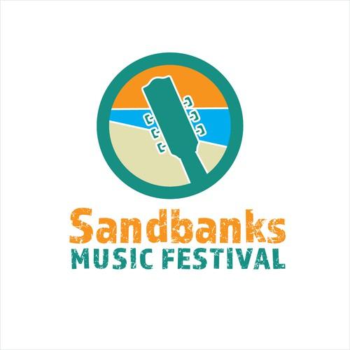 Fun logo for a family music festival at the beach