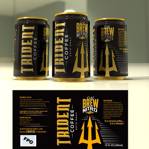 12oz can design for Trident Coffee
