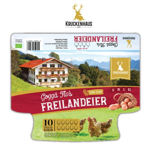 Egg carton label Design for Tyrolean mountain farm