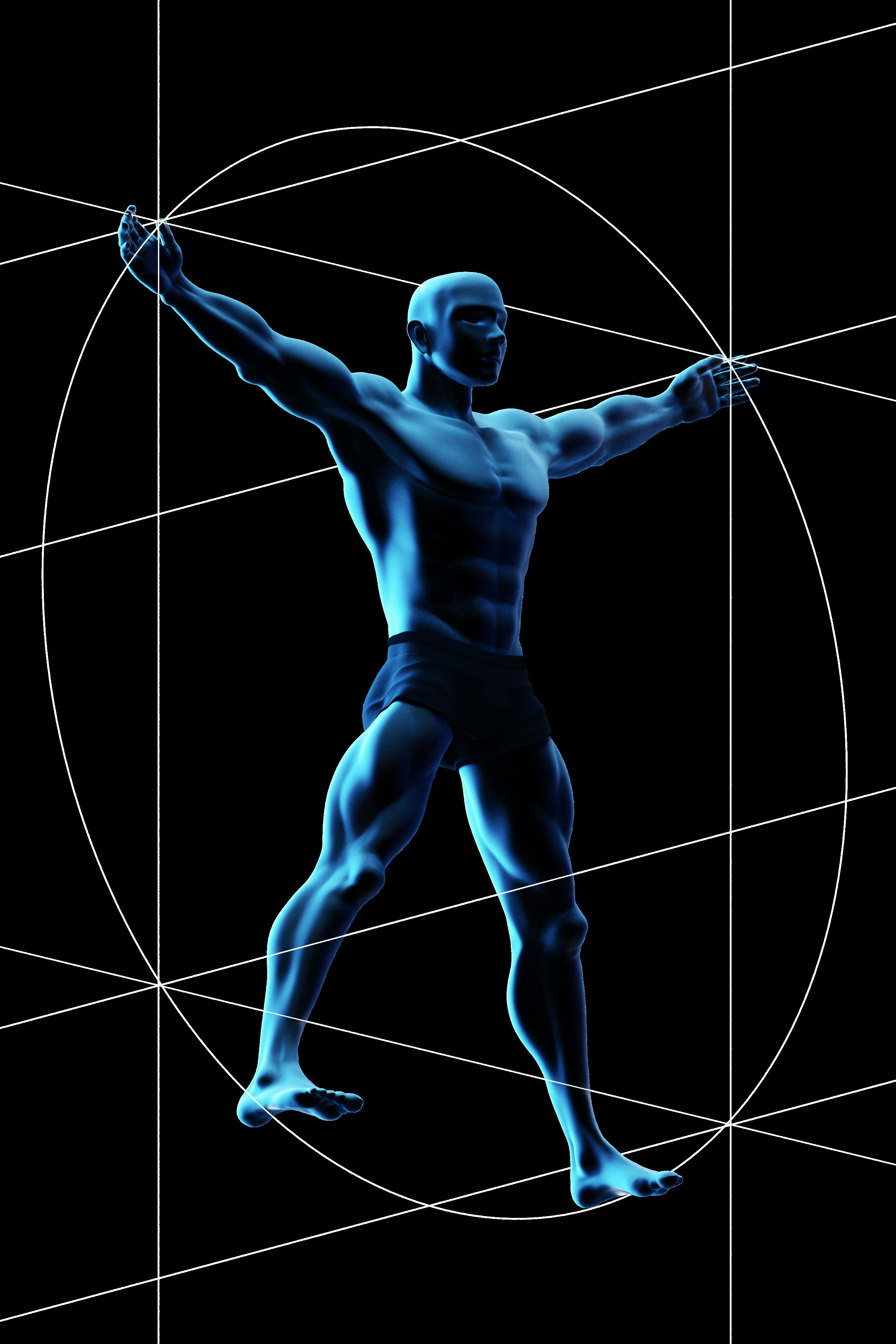 An updated, futuristic take on Da Vinci's Vitruvian Man .