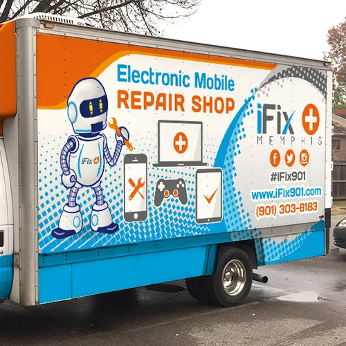 Create Truck Wrap for Mobile Electronics Repair Shop