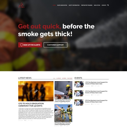 web design concept for Fire and Safety orginization