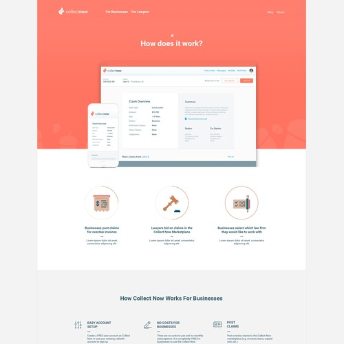 landing page design - Collect Now
