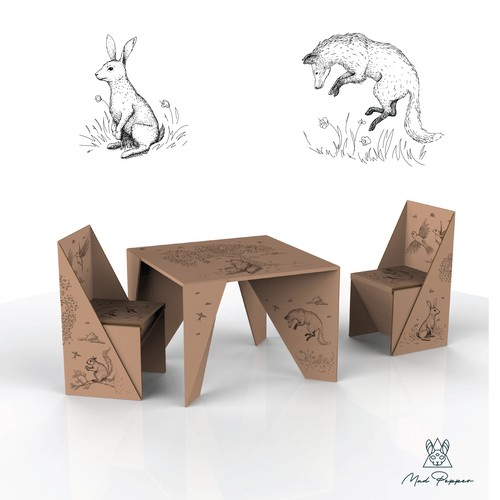 Animal illustrations for Children's cardboard Table and Chairs set