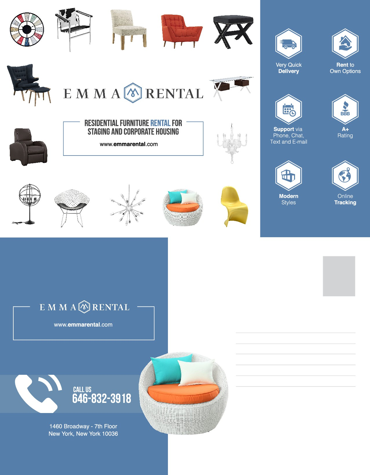 Design a Post Card for Furniture Rental company.