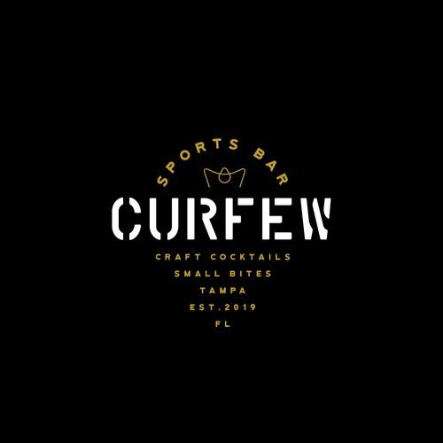Modern logo design for sports bar CURFEW