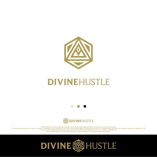 Create a Powerful logo for Divine Hustle, an urban streetwear brand