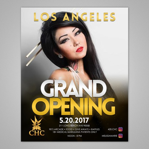 Grand opening flyer for our marijuana dispensary with guest hosts!