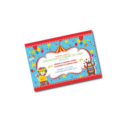 Circus themed kids Birthday Card