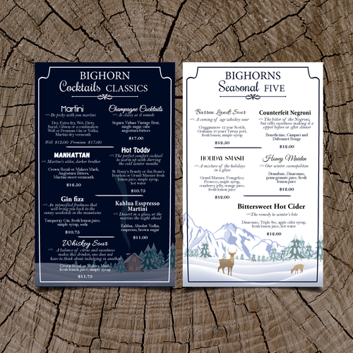 Menu for Seasonal Mountain Resort
