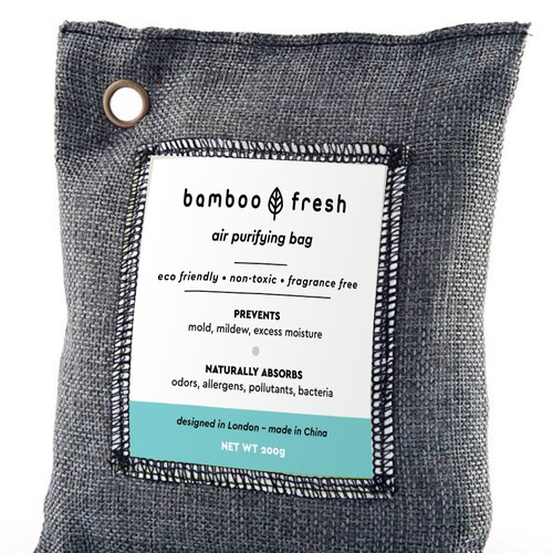 Bamboo air purifying bag label