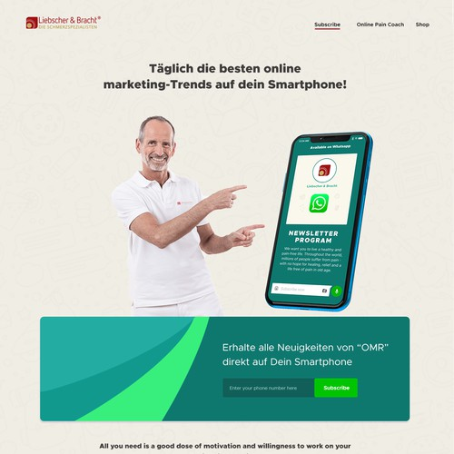 Landingpage for Whatsapp-Newsletter Optin