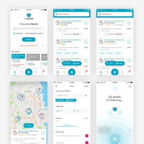 Iphone app design for My Dentist