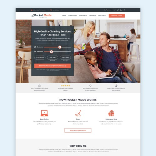 HomePage for a Cleaning Service