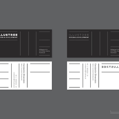 Black, white, transparent and natural - Business cards that tell a story (for ILLUSTREE User Experience Design Agency)