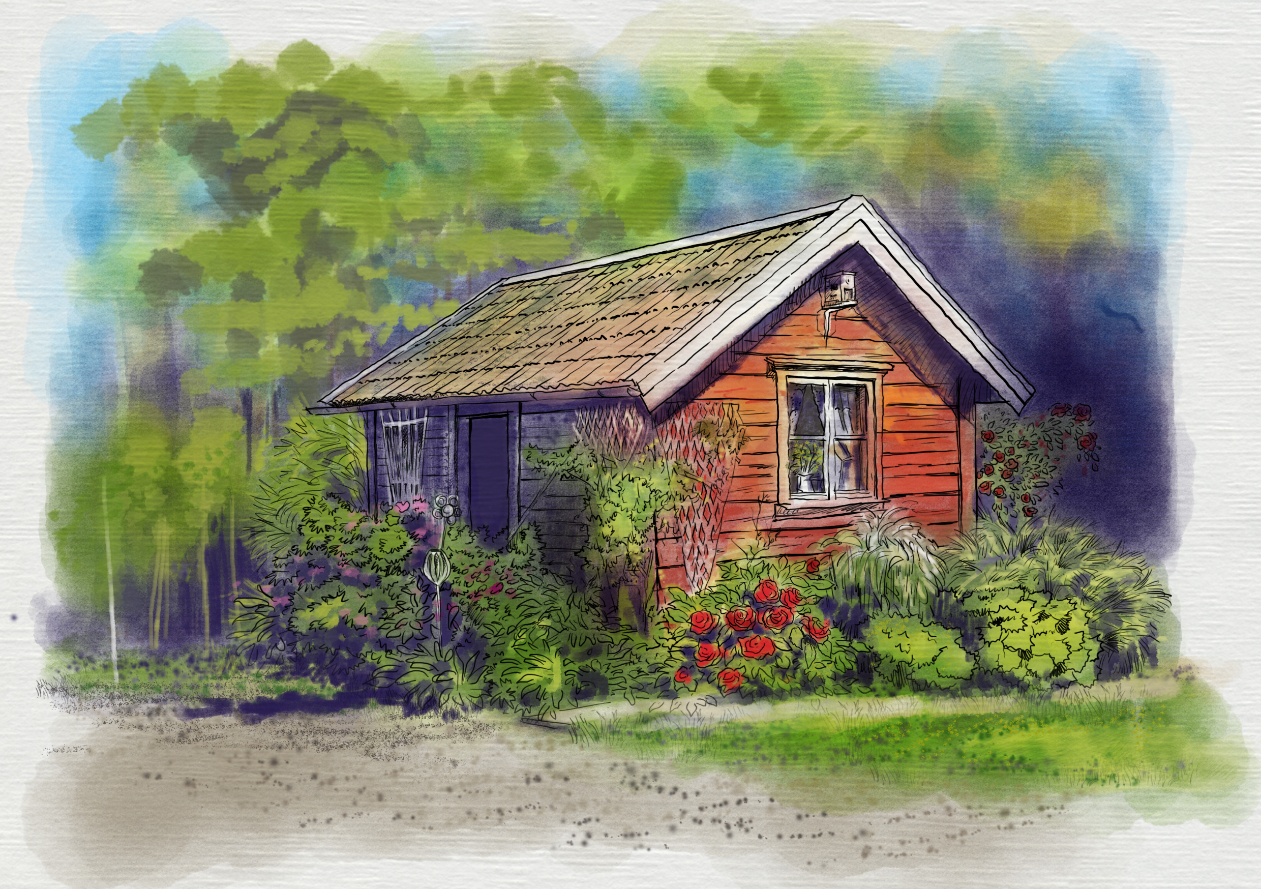 Colored sketch of cottage