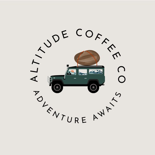Logo for Coffee Co, out of a converted Land Rover