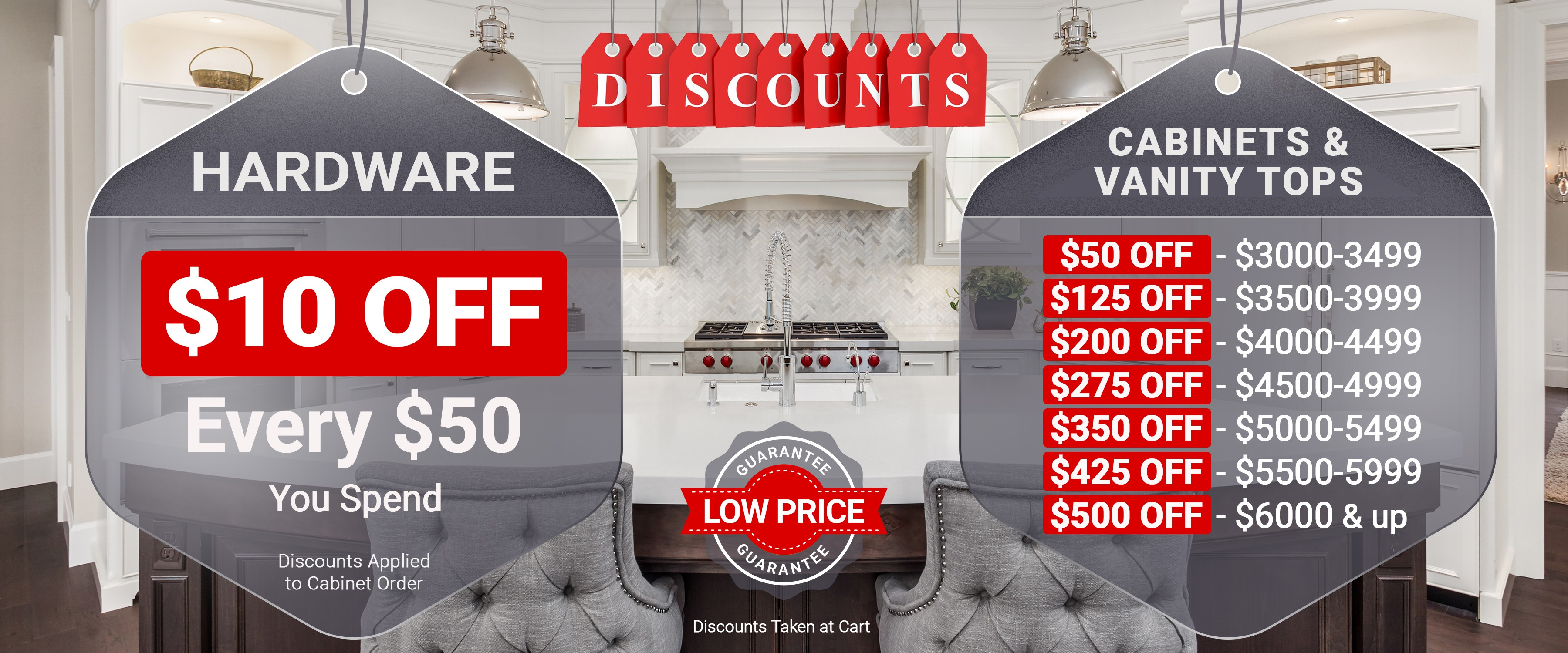 Catchy discount banner for kitchen cabinet site.
