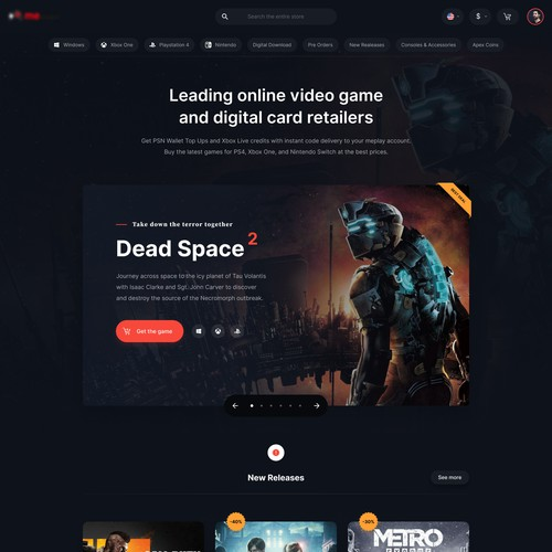 Dark, clean, and minimalist website redesign for a game store