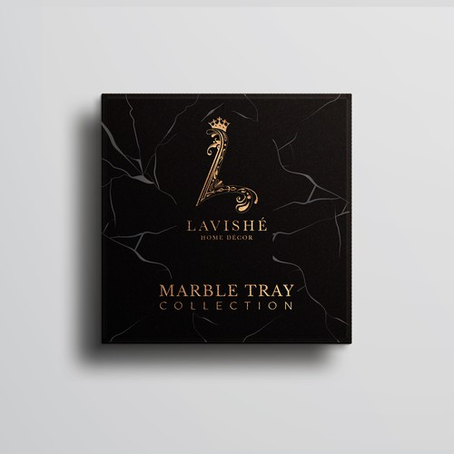 Luxurious packaging design for marble home decor to appeal to upper class consumers
