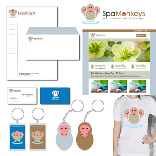 Create a cute, adorable mascot logo for Spa Monkeys