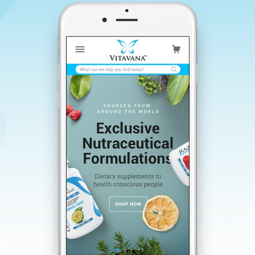 Website for Vitavana (mobile version)