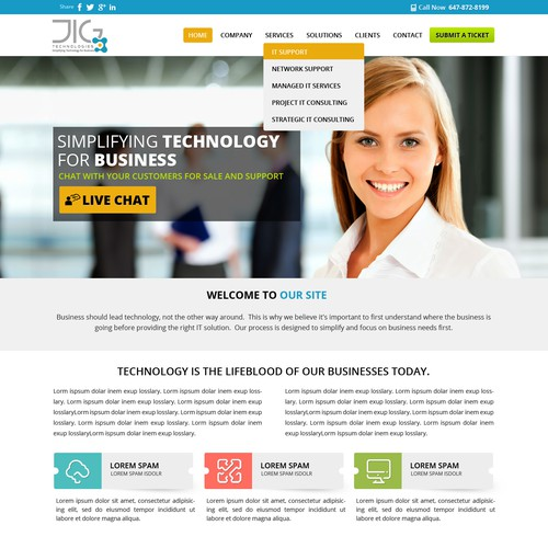 Create a Wordpress design for a software and IT technology solutions company - JIG Technologies