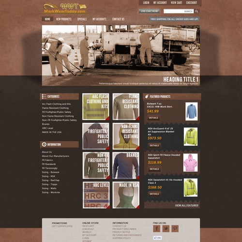 Website Design for Ecommerce Business - Work Clothing Retailer
