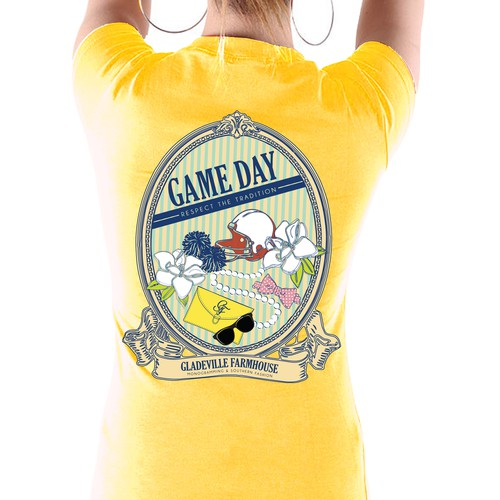 Preppy t-shirt design capturing the spirit of college football game day.