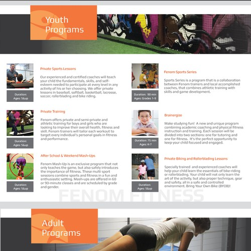 Design a Brochure for a Sports/Fitness Facility that Caters to Kidsand Adults