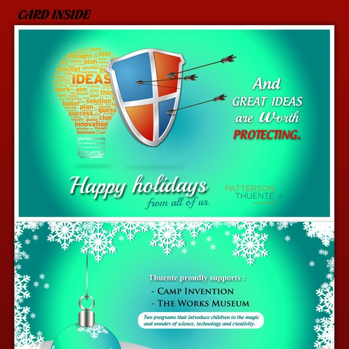 HOLIDAY WISHING GREETING CARD FOR PATENT PROVIDING COMPANY