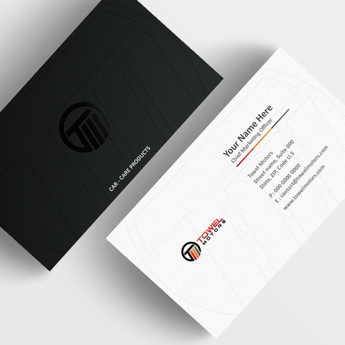 Create a luxurious business card for a car-care product company.