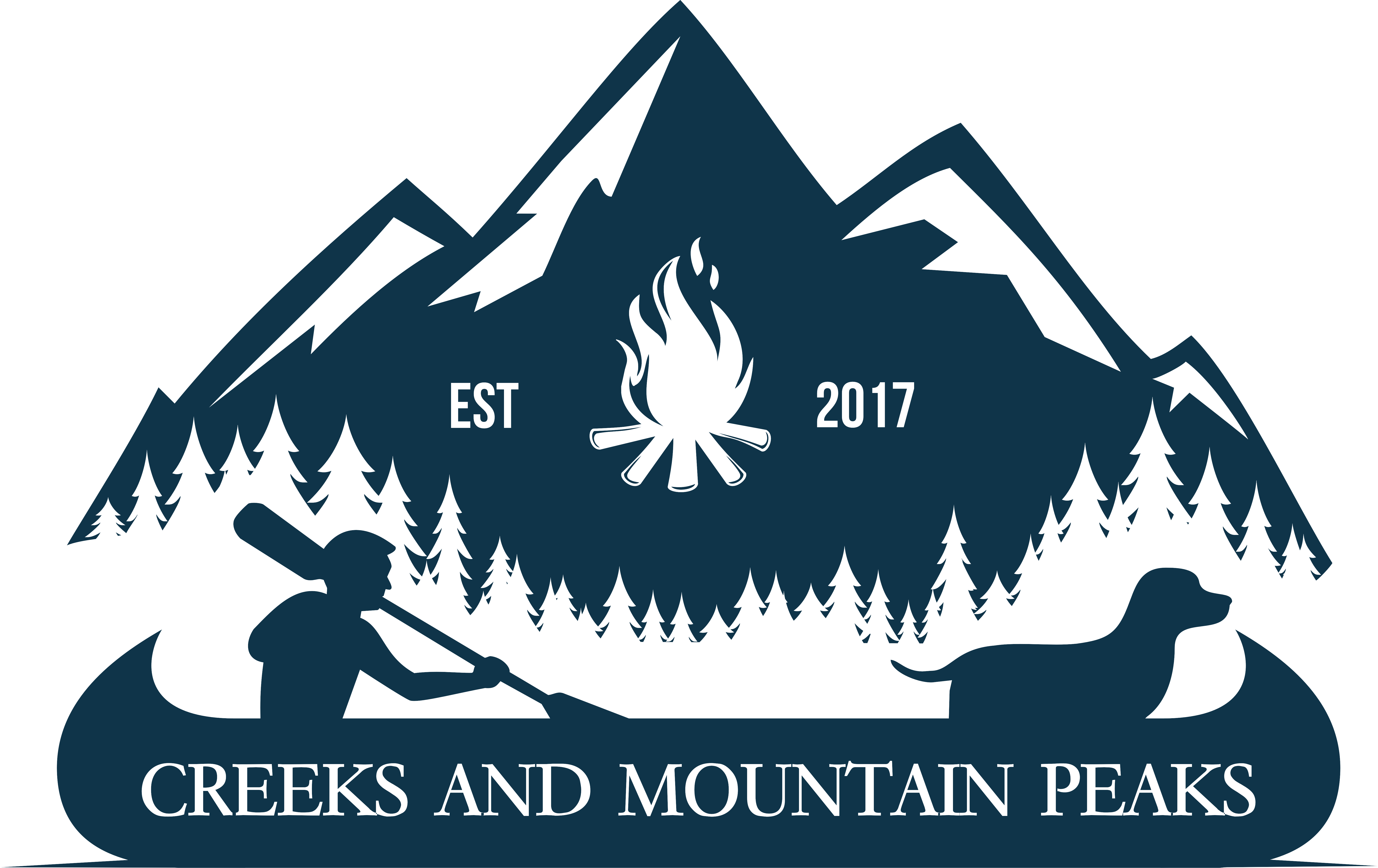 Create a vintage logo representing Creeks And Mountain Peaks