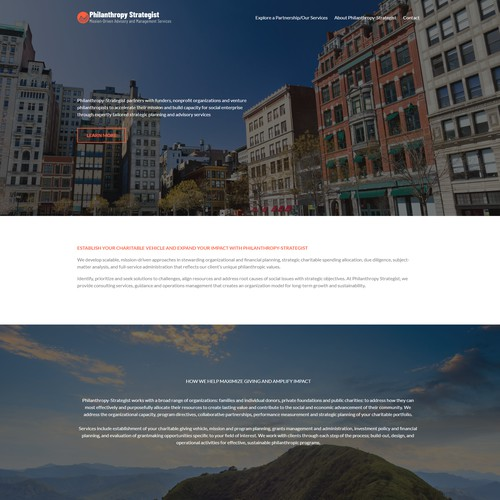 Squarespace Website For Philanthropy Business Consulting.