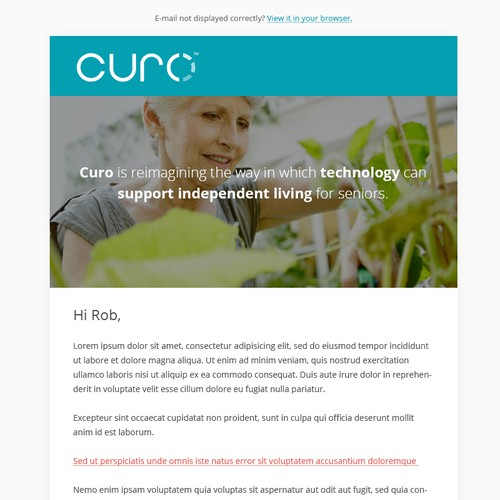 Curo & Billy email design