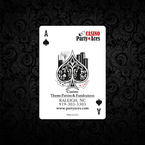 business playing card for a casino