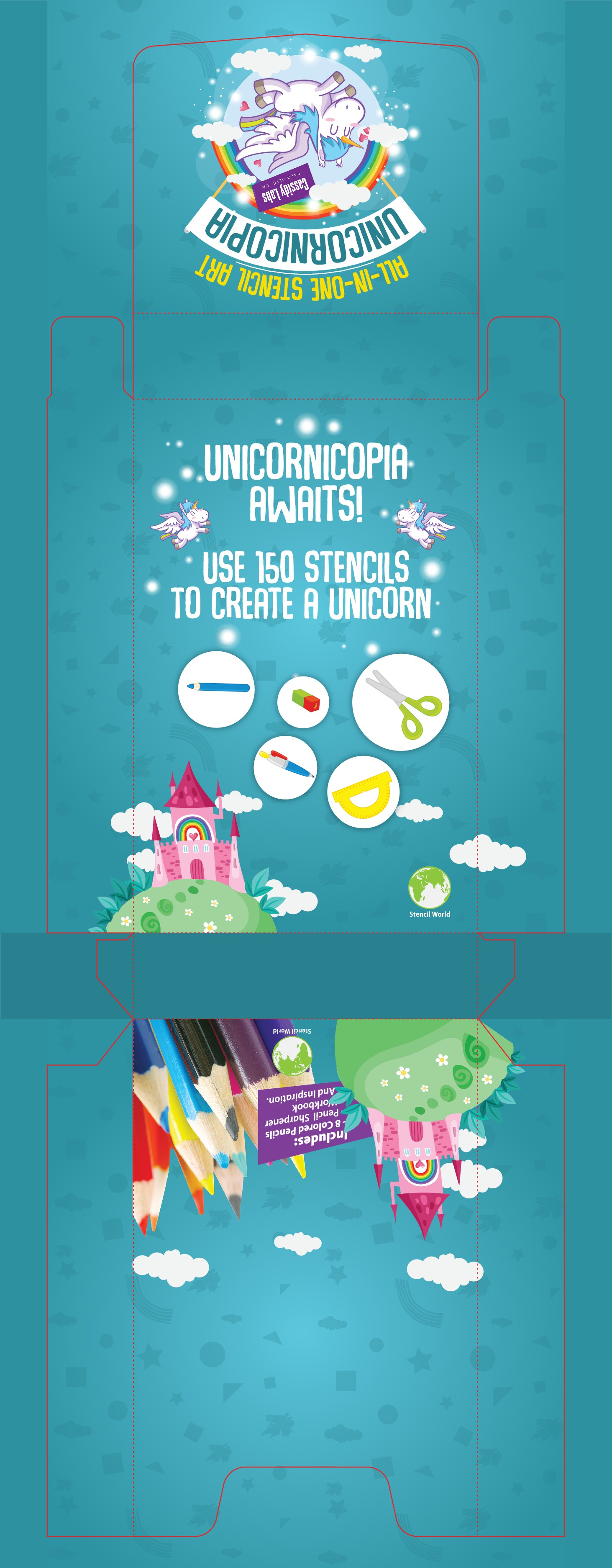 Design a playful Stencil Kit for Kids (to be sold at retail).