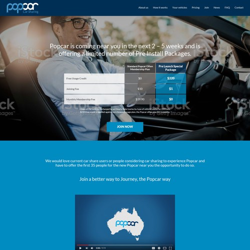 Landing page for a car sharing service