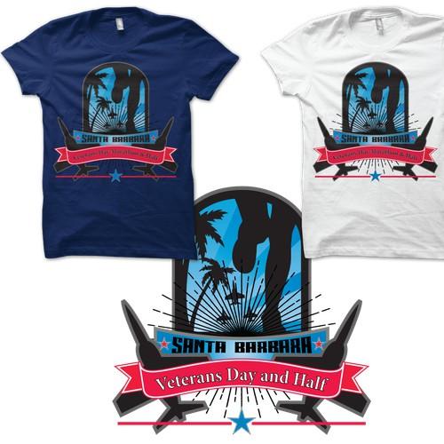 Create award winning shirt design for Santa Barbara Veteran's Day Marathon and Half 2014